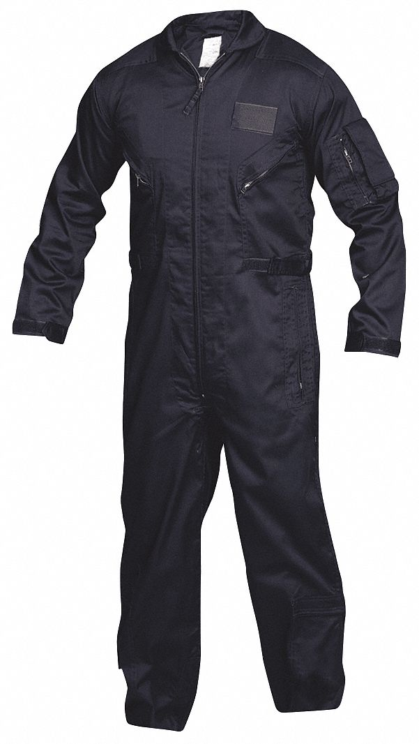Flight Suit,  L,  32 in Inseam,  Fits Chest Size 42 in to 44 in,  Navy