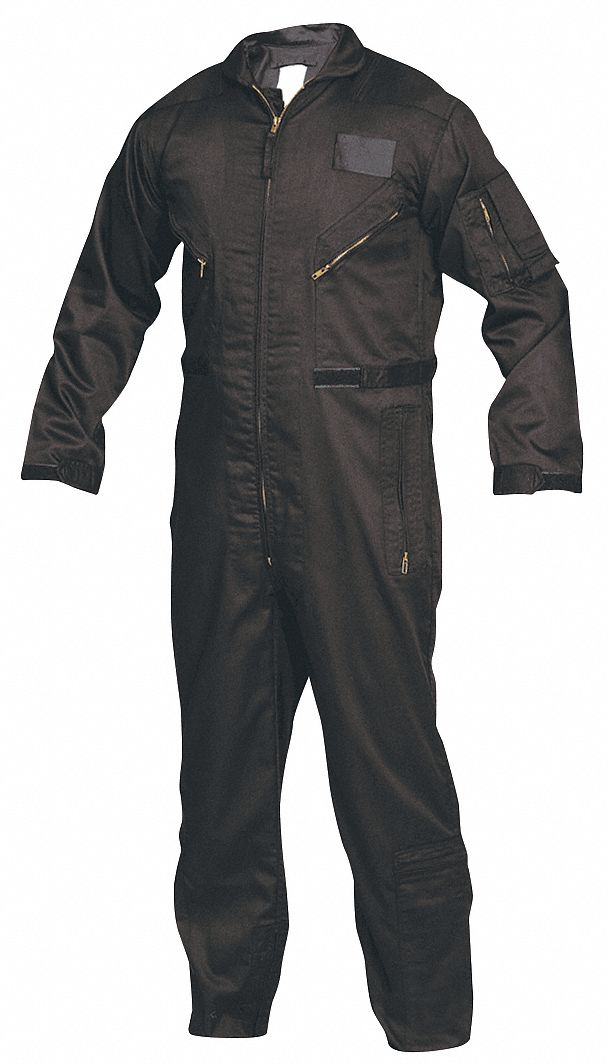 Flight Suit,  XL,  32 in Inseam,  Fits Chest Size 46 in to 48 in,  Black
