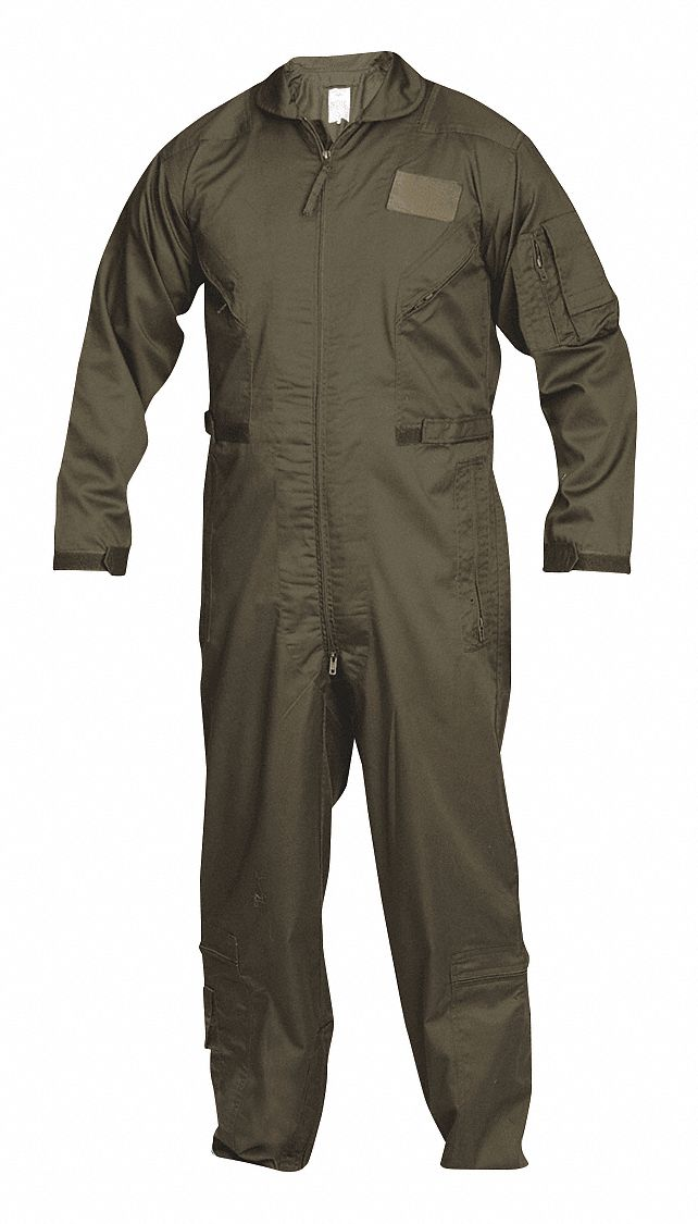 Flight Suit,  XL,  34 in Inseam,  Fits Chest Size 46 in to 48 in,  Sage