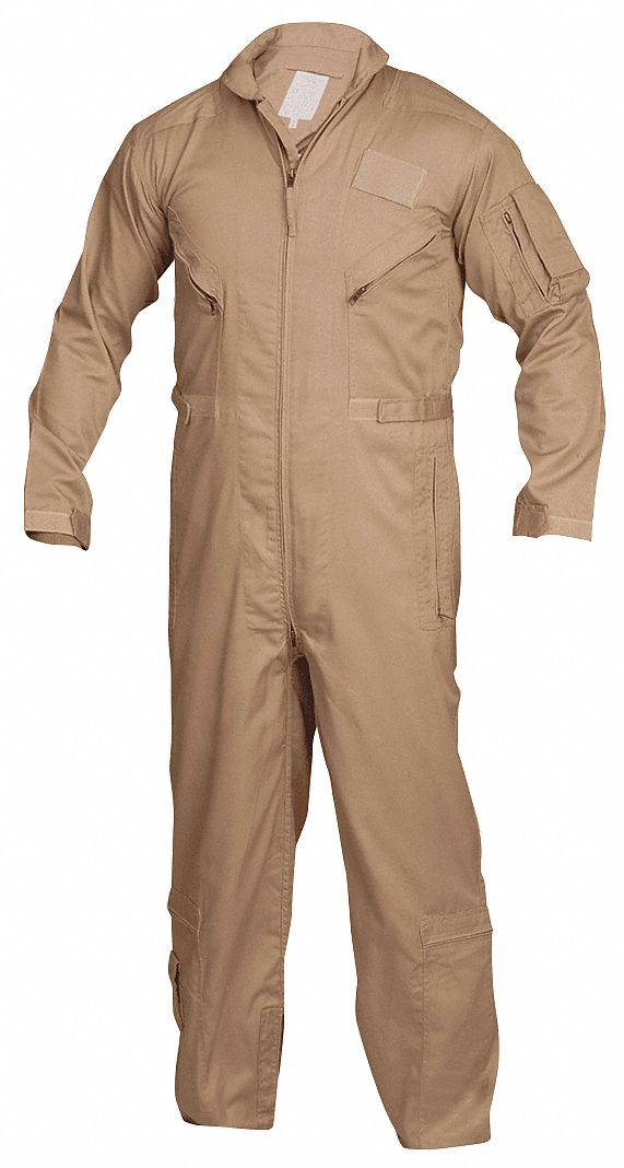 Flight Suit,  XL,  32 in Inseam,  Fits Chest Size 46 in to 48 in,  Khaki