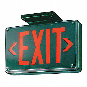 2 Face LED Exit Sign, Black Aluminum Housing, Red Letter Color