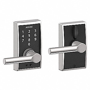 Electronic Lock,Lever,Bright Chrome