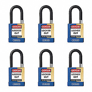 "Alike-Keyed Padlock, Open Shackle Type, 1-1/2"" Shackle Height, Blue"