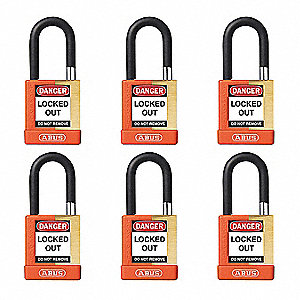 "Alike-Keyed Padlock, Open Shackle Type, 1-1/2"" Shackle Height, Orange"