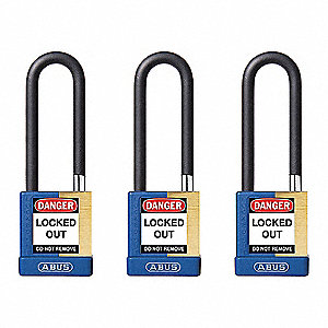 "Alike-Keyed Padlock, Open Shackle Type, 3"" Shackle Height, Blue"