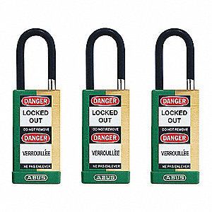 "Alike-Keyed Padlock, Open Shackle Type, 1-1/2"" Shackle Height, Green"