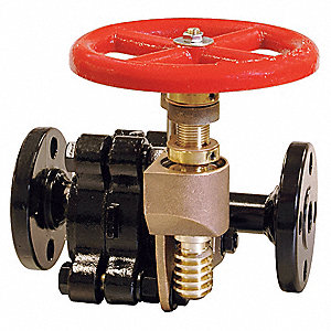 "Flange Gate Valve, Inlet to Outlet Length: 9-45/64"", Pipe Size: 1"", Max. Fluid Temp.: 500°F"