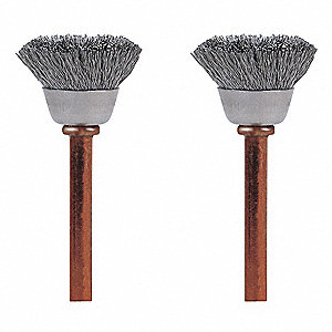 SS Brush,1/2in. dia.,1-3/4in. L,PK2