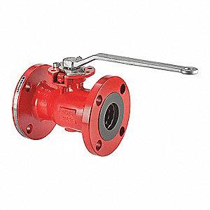 "Carbon Steel Flanged x Flanged Ball Valve, Locking Lever, 6"" Pipe Size"