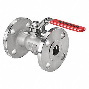 "Carbon Steel Flanged x Flanged Ball Valve, Locking Lever, 1"" Pipe Size"