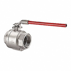 "316 Stainless Steel FNPT x FNPT Ball Valve, Locking Lever, 4"" Pipe Size"