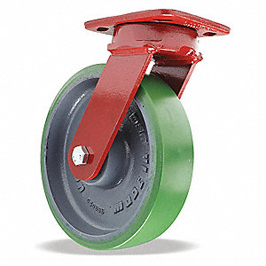 "8"" Medium-Duty Kingpinless Swivel Plate Caster, 1500 lb. Load Rating"
