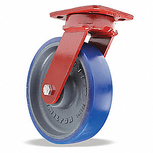 "8"" Medium-Duty Kingpinless Swivel Plate Caster, 1200 lb. Load Rating"