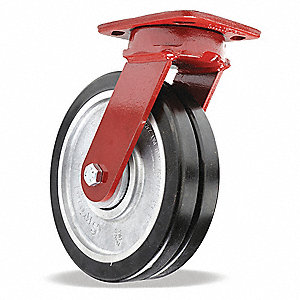"8"" Medium-Duty Kingpinless Swivel Plate Caster, 2500 lb. Load Rating"