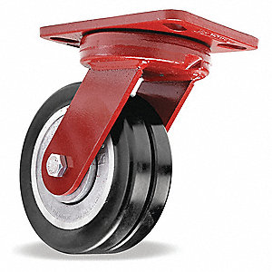 "6"" Medium-Duty Kingpinless Swivel Plate Caster, 2400 lb. Load Rating"