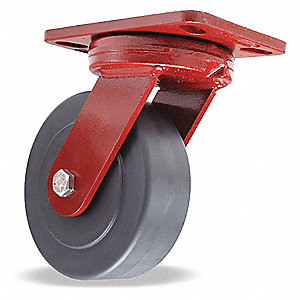 "6"" Medium-Duty Kingpinless Swivel Plate Caster, 2300 lb. Load Rating"