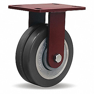 "8"" Medium-Duty Rigid Plate Caster, 2500 lb. Load Rating"
