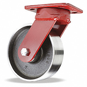 "6"" Medium-Duty Kingpinless Swivel Plate Caster, 2500 lb. Load Rating"