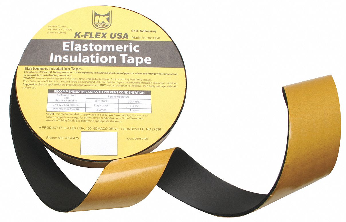 30 ft x 2 in NBR/PVC Pipe Insulation Tape, -40° to 220°F, Black