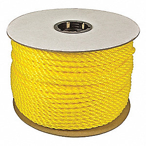 "1-1/2"" dia. Polypropylene All Purpose General Utility Rope, Yellow, 600 ft."