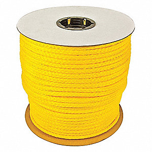 "1/4"" dia. Polypropylene All Purpose General Utility Rope, Yellow, 1000 ft."
