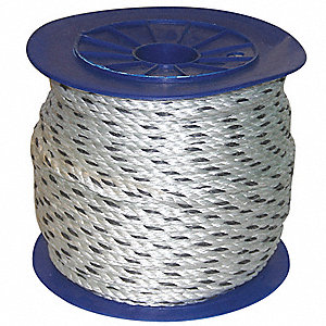 "Composite Rope, 3/4"" Rope Dia., 600 ft. Length, Black Tracer/White"