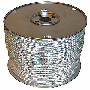 "1/4"" dia. Polyester All Purpose General Utility Rope, Green Tracer/White, 600 ft."