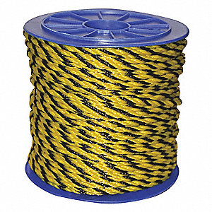 "5/16"" dia. Polypropylene All Purpose General Utility Rope, Black/Yellow, 600 ft."