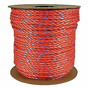 "3/8"" dia. Polypropylene All Purpose General Utility Rope, Orange, 600 ft."