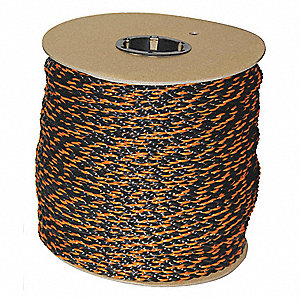 "1/2"" dia. Polypropylene All Purpose General Utility Rope, Black/Orange, 600 ft."