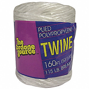 "1/16"" dia. Polypropylene Twine Tying and Bundling Rope, White, 160 ft."