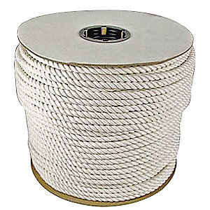 Rope,600ft,Wht,3/8 in. Dia., Cotton
