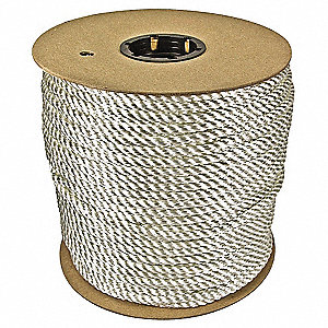 "1/2"" dia. Nylon All Purpose General Utility Rope, White, 200 ft."
