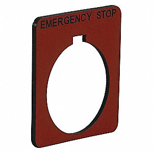 30mm Square Emergency Stop Legend Plate, Plastic, Red/Black
