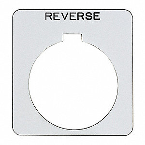 30mm Square Reverse Legend Plate, Plastic, White/Black