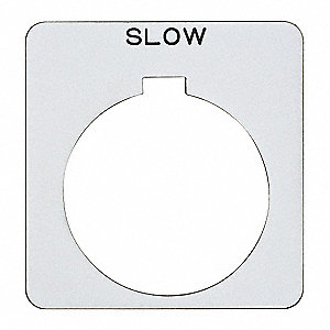 30mm Square Slow Legend Plate, Plastic, White/Black