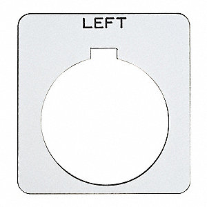 30mm Square Left Legend Plate, Plastic, White/Black