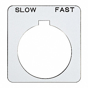 30mm Square Slow-Fast Legend Plate, Plastic, White/Black
