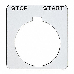 Legend Plate,Square,Stop-Start,White