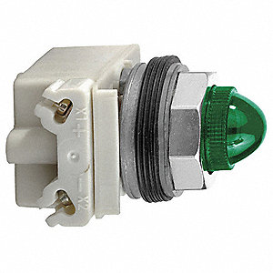 Pilot Light Complete, 30mm, 480VAC Voltage, Lamp Type: Incandescent