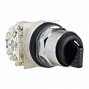 Non-Illuminated Selector Switch, Size: 30mm, Position: 3, Action: Momentary / Maintained / Momentary