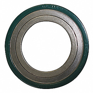 "304SS and Flexible Graphite Spiral Wound Metal Gasket, 11"" Outside Dia., Green, Yellow, Gray Stripe"