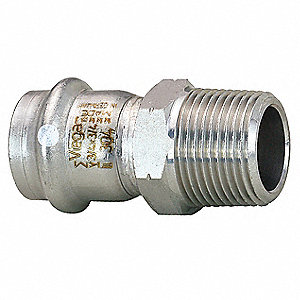 "304 Stainless Steel Adapter , Press x MPT Connection Type, 1/2"" x 1/2"" Tube Size"