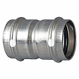 "304 Stainless Steel Coupling with stop, Press1 x Press2 Connection Type, 1/2"" x 1/2"" Tube Size"