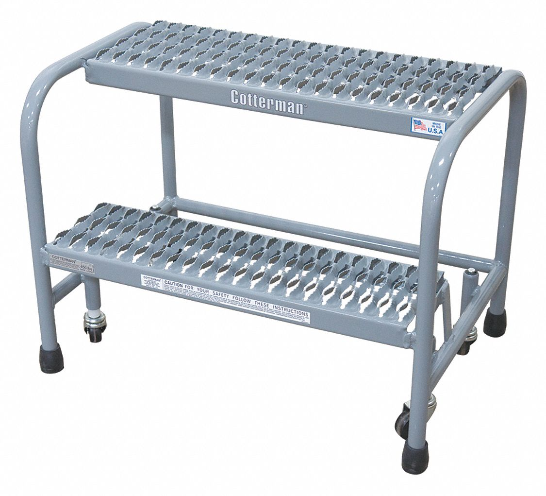 Steel Rolling Step, 20 in Overall Height, 450 lb Load Capacity, Number of Steps: 2