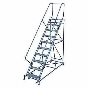 "10-Step Rolling Ladder, Expanded Metal Step Tread, 130"" Overall Height, 450 lb. Load Capacity"