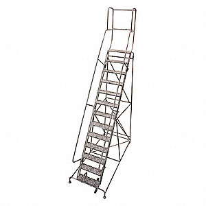 "13-Step Rolling Ladder, Antislip Vinyl Step Tread, 172"" Overall Height, 450 lb. Load Capacity"