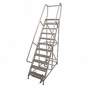 "12-Step Rolling Ladder, Perforated Step Tread, 162"" Overall Height, 450 lb. Load Capacity"