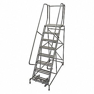 Rolling Ladder,110 in. H,Rubber