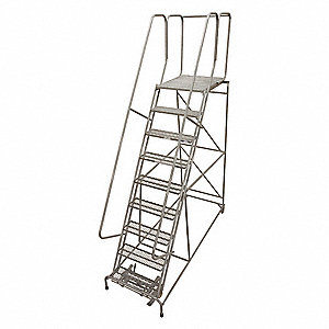 "9-Step Rolling Ladder, Rubber Mat Step Tread, 120"" Overall Height, 450 lb. Load Capacity"